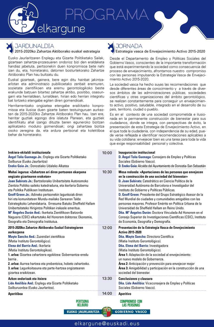 Programa de la jornada celebrada en día 18/09/2015 en Donostia / San Sebastián