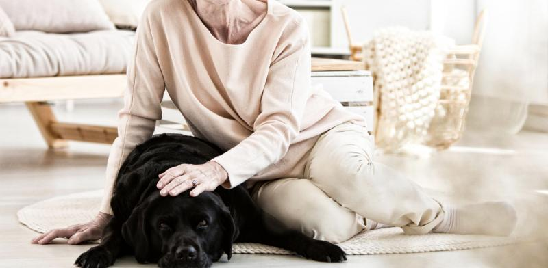 Mujer mayor acaricia a un perro